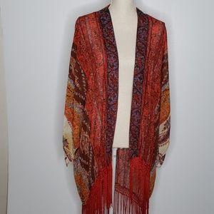 Entro for Anthropologie kimono cardigan w/fringe